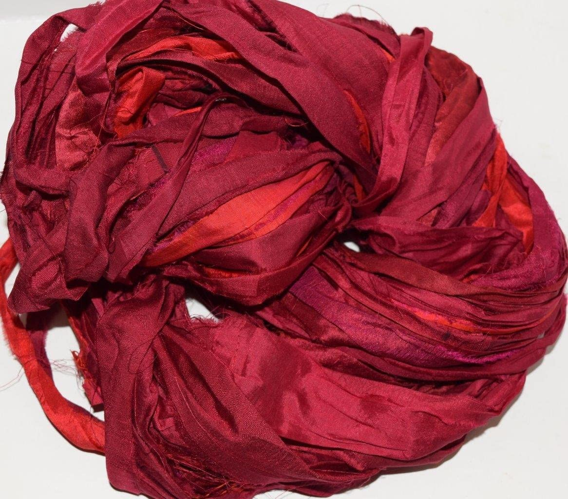More Red 190 Recycled Sari Silk Ribbon  Thin /& Wide Ribbon BOHO Jewellery Making recycled Sarisilk Ribbon Recycled Sari silk ribbon