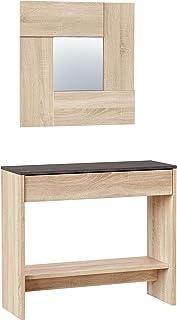Habitdesign Mueble Recibidor con Cajón y Espejo Mueble Consola Acabado en Color Roble Canadian y Oxido Medidas: 92 cm (...