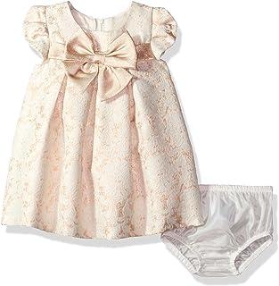 Bonnie Baby Girls Vestido de Fiesta de Manga Corta Jacquard