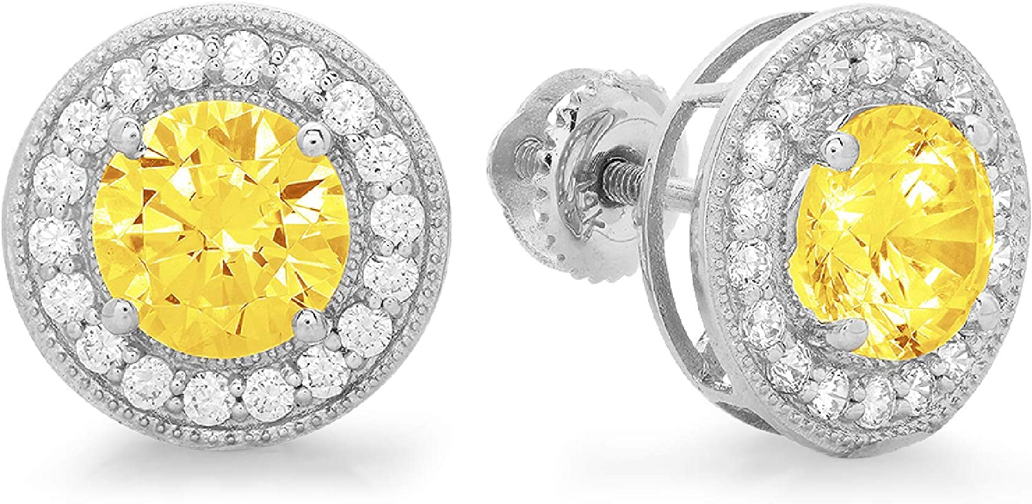 3.60 ct Round Cut ideal VVS1 Conflict Free Gemstone Halo Solitaire Canary Yellow CZ Designer Solitaire Stud Screw Back Earrings Solid 14k White Gold