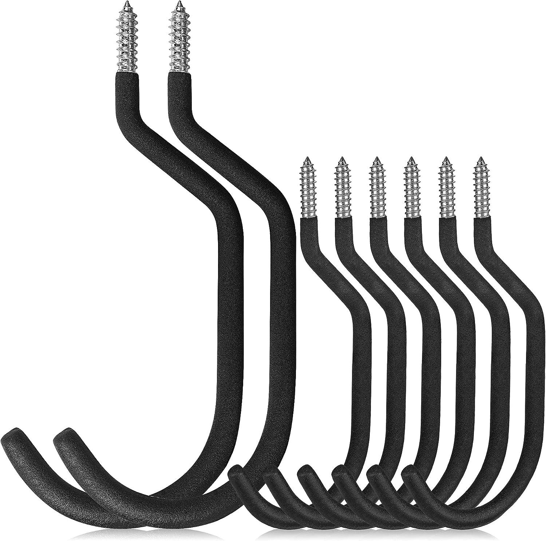 SAZ HOME Bike Hooks for Garage 8 Pack (2 Extra Large Hooks, 6 Standard) - Ceiling Hook, Garage Hooks Heavy Duty, Bike Hooks for Ceiling & Bicycle Hooks, Screw Hooks to Organize Tools & Ladder