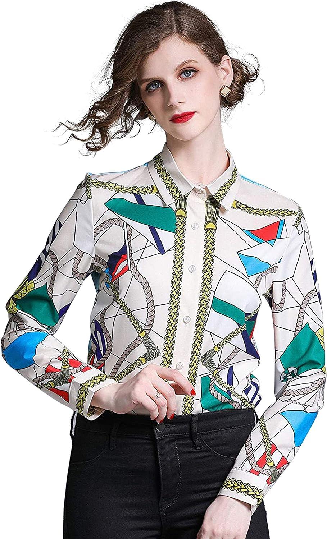 LAI MENG FIVE CATS Women's Print Long Sleeve Button-Front Casual Shirt Blouse