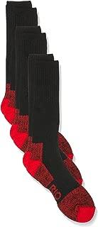 Rio Men's Reinforced Cushion Comfort Work Socks (3 Pack), Red, 6-10