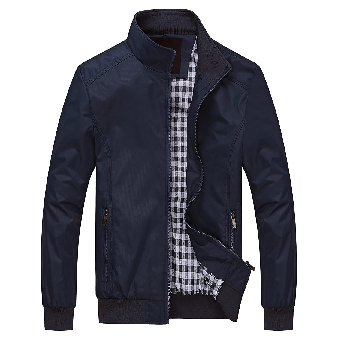 ROMINTON Kolongvangie Mens Casual Jacket Outdoor Windbreaker Outerwear Jackets and Coats Slim Fit