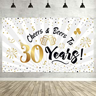 30th Birthday Party Decorations, Large Black and Gold Sign 30th Birthday Backdrop Banner Photo Booth Backdrop Background for 30th Birthday Party Supplies