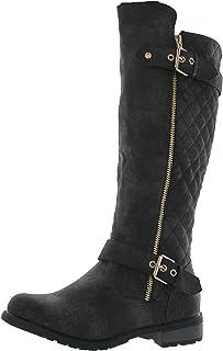 حذاء برقبة لركوب الخيل بسحاب مبطن ماركة Forever Link للسيدات Mango-21، أسود ضيق، 7. 5