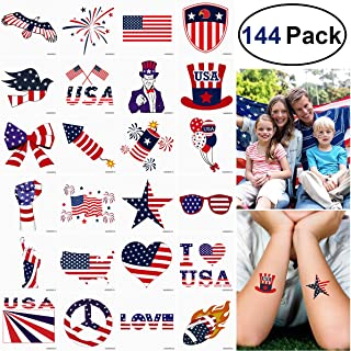 Unomor 144PCS 4th of July Tattoos Patriotic Stickers Tattoos for 4th of July Party Favors Party Supplies, Independence Day Party Supplies(24 Patterns -1.8inchX1.8inch)