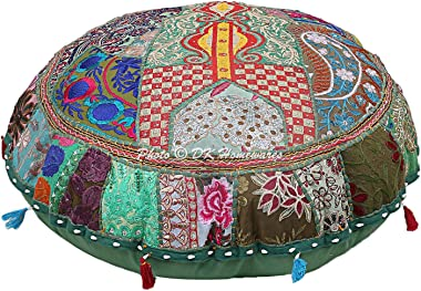 DK Homewares Round Bohemian Floor Cushions Seating for Adults Dark Green 22 Inch Patchwork Meditation Pouffe Footstool Home Decor Embroidered Vintage Cotton Indian Floor Pillow Cover 55 cm