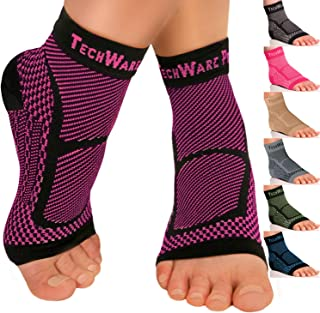 Ankle Brace Compression Sleeve - Relieves Achilles Tendonitis, Joint Pain. Plantar Fasciitis Foot Sock with Arch Support Reduces Swelling & Heel Spur Pain. Injury Recovery for Sports