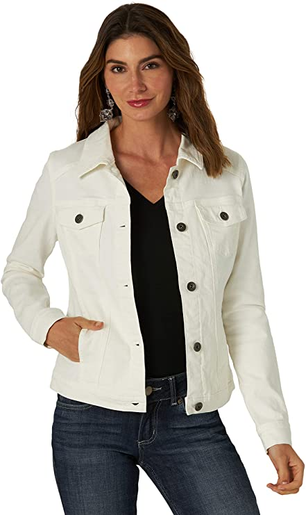 Wrangler White Denim Jacket for women | Casual outfit idea with white jean jacket | Classic Denim jacket for your wardrobe