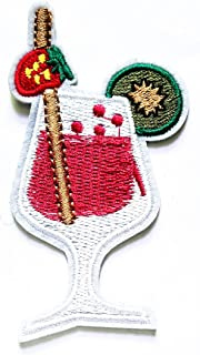 Nipitshop Patches Drink Glass Fruit Juice Strawberry Kiwi Fruit Logo Movie Cartoon Kid Patch Symbol Jacket T-Shirt Patch Sew Iron on Embroidered Sign Badge Costume