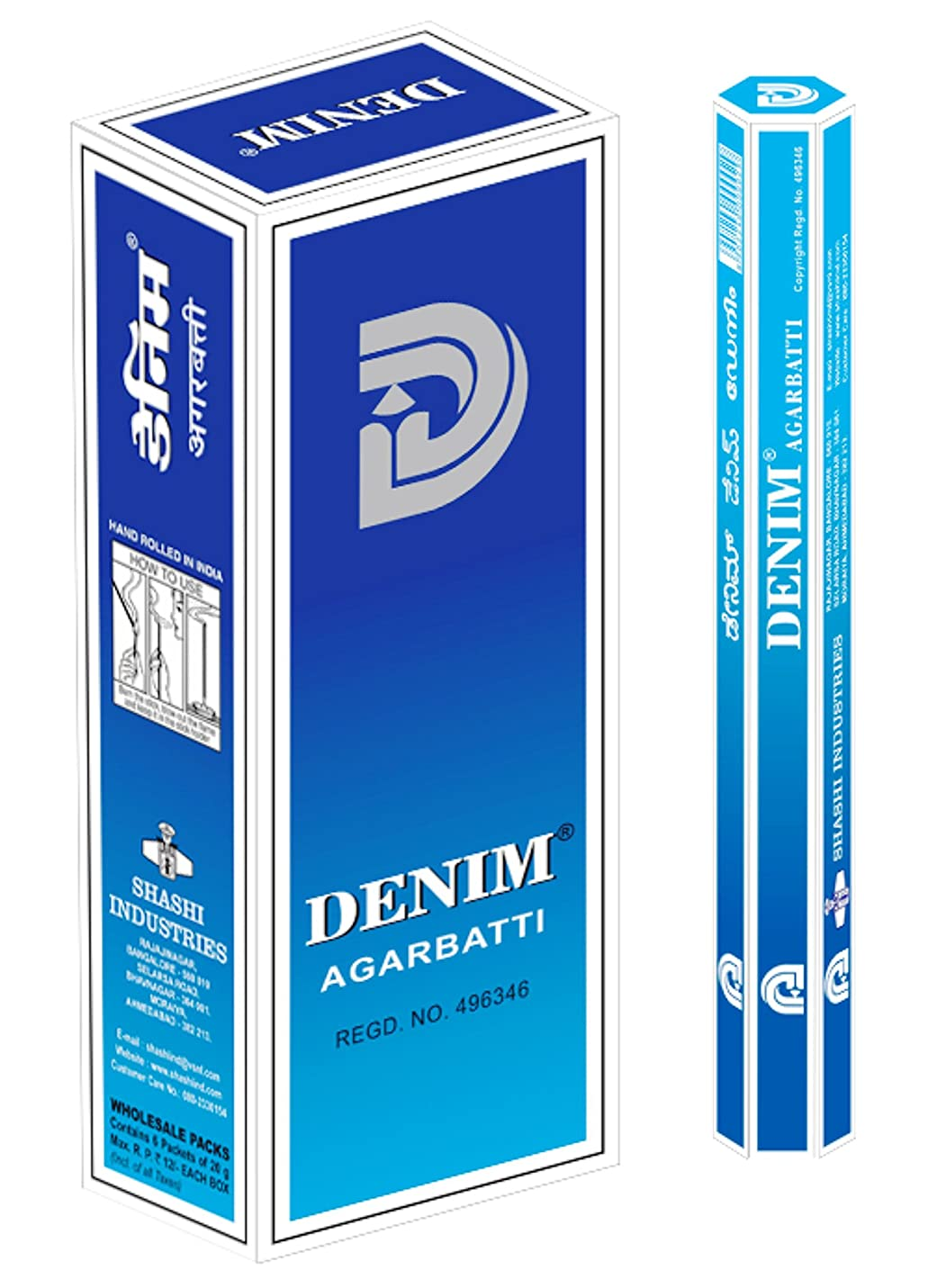見物人改修おいしいSHASHI社 スティック型インドお香 DENIM 6箱セット