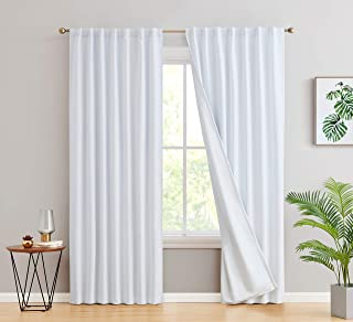 HLC.ME 100% Complete Blackout Lined Drapery with Heavy Double Layer Thermal Insulated Energy Smart Window Curtain Rod Pock...
