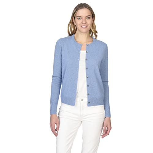 e055cb04b2 State Cashmere Women s 100% Pure Cashmere Button Front Long Sleeve Crew  Neck Cardigan Sweater