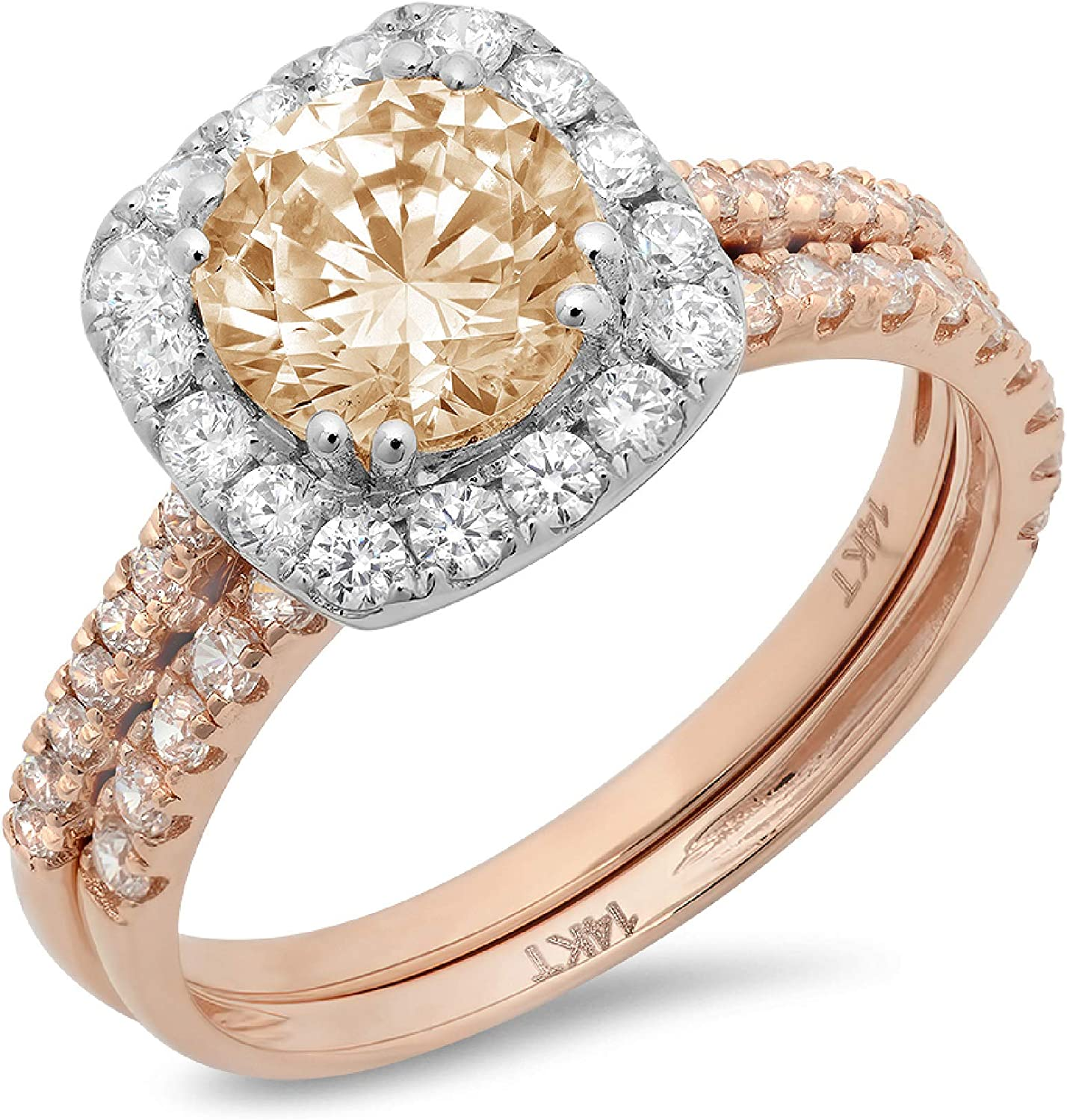 2.19ct Round Cut Halo Pave Solitaire Halo with Accent VVS1 Ideal Designer Genuine Natural Morganite Engagement Promise Designer Anniversary Wedding Bridal Ring band set 14k 2 Tone Gold