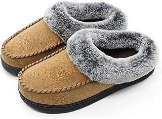 9c339de2a8d3c ULTRAIDEAS Women s Cozy Memory Foam Moccasin Suede Slippers with Fuzzy  Plush Faux Fur Lining