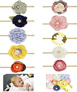 Baby Girl Headbands Bows flowers,10 Pack Hair Accessories for Newborn Infant Toddler Gift by FANCY CLOUDS