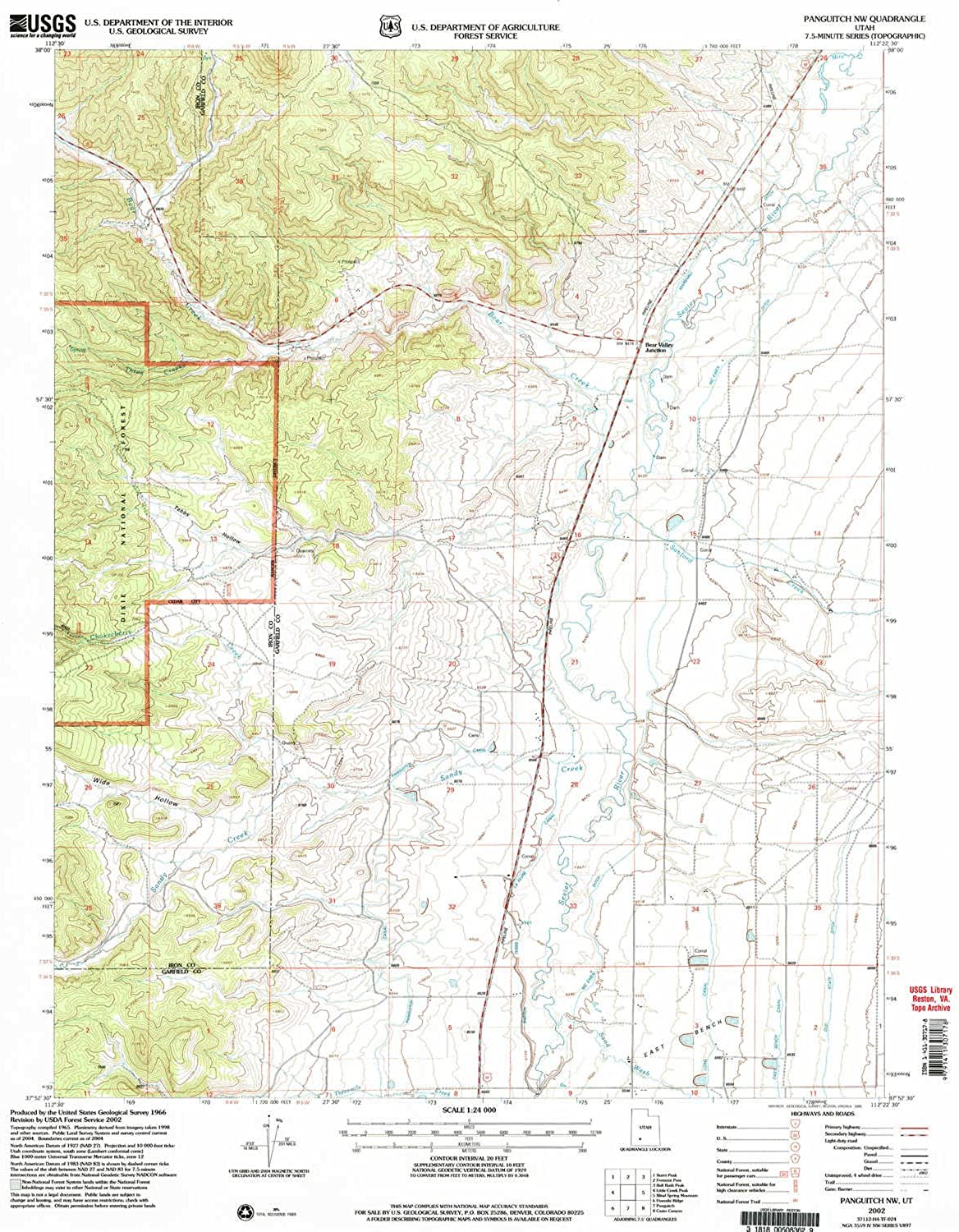 Panguitch NW UT topo map, 1 24000 Scale, 7.5 X 7.5 Minute, Historical, 2002, Updated 2005, 26.6 x 21.9 in