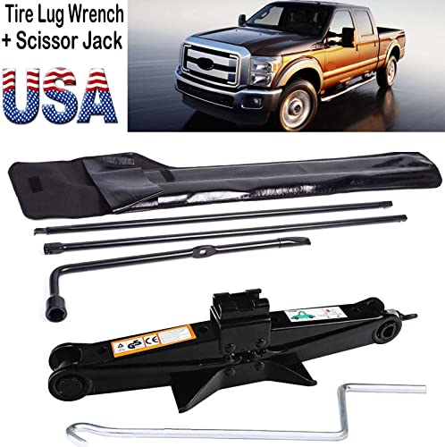 discount Bowoshen Super Duty Lug Nut Wrench lowest +2 Ton Scissor Jack Tire Wheel Repair Tool Kit for Ford high quality 2003-2007 F250 F350 F450 F550 online