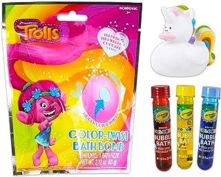 Trolls Bath Toys for Kids Set ~ 2 Trolls Bath Bombs, 3 Color Bubble Bath Tubes, and Bonus Unicorn Rubber Duckie (Bath Colors Bundle)