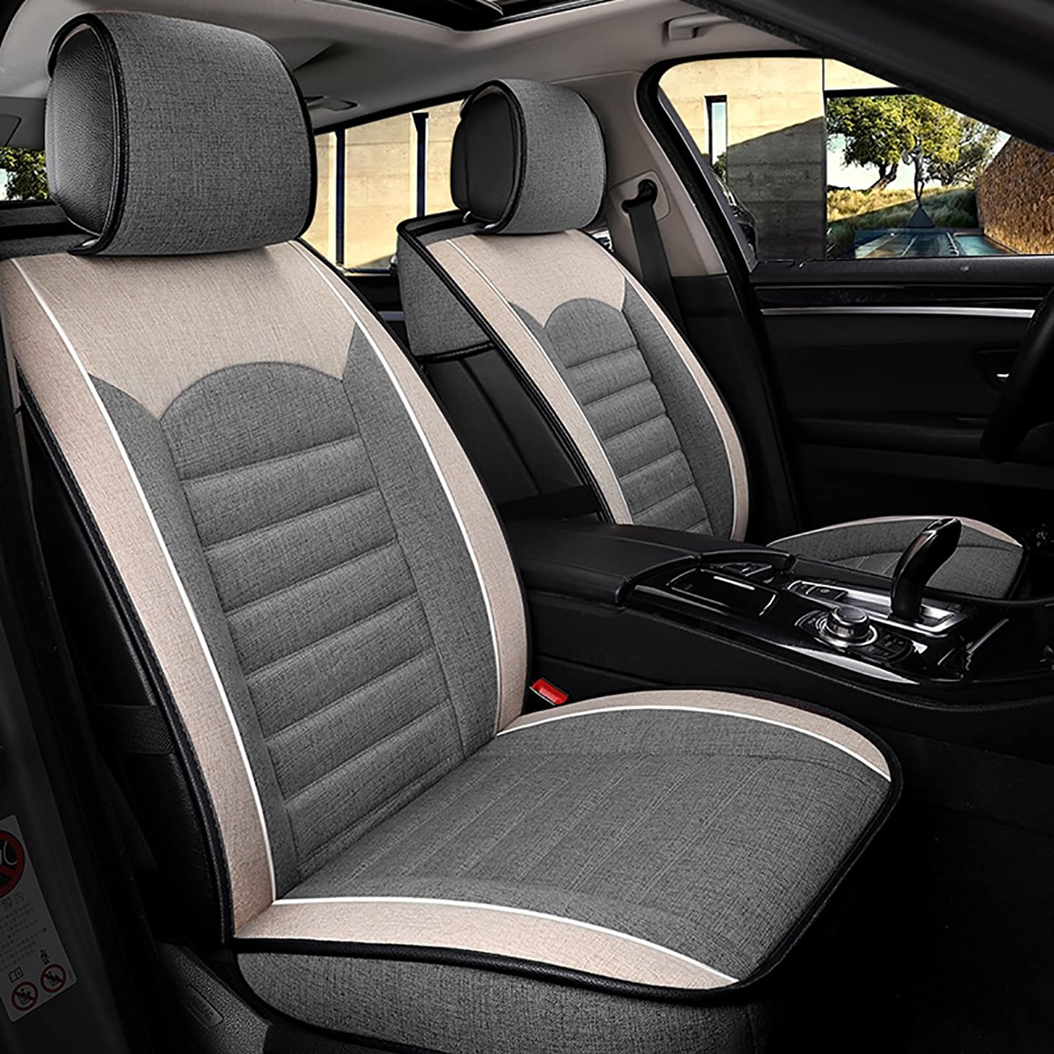 Empire Sport Style Linen/Flax Super Breathable Car Seat Covers 10 pcs Set - Adjustable Seat Covers for Audi Jeep Ford Mercedes-Benz and 98% Other Types of 5 Seats Cars