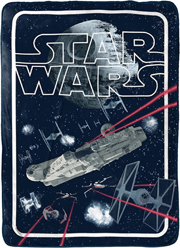 Star Wars Classic Space Battle Flannel Silk Touch 62 X 90 Twin Blanket