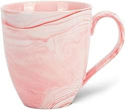 Hausmann & Söhne XXL Blanca Grande de Porcelana Taza en mármol Rosa | Jumbo Cup 500 ml, 1 Taza, Taza de café/té Grande | Taza mármol | Idea de Regalo
