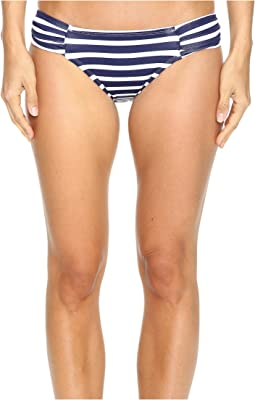 Breton Stripe Side-Shirred Hipster Bikini Bottom