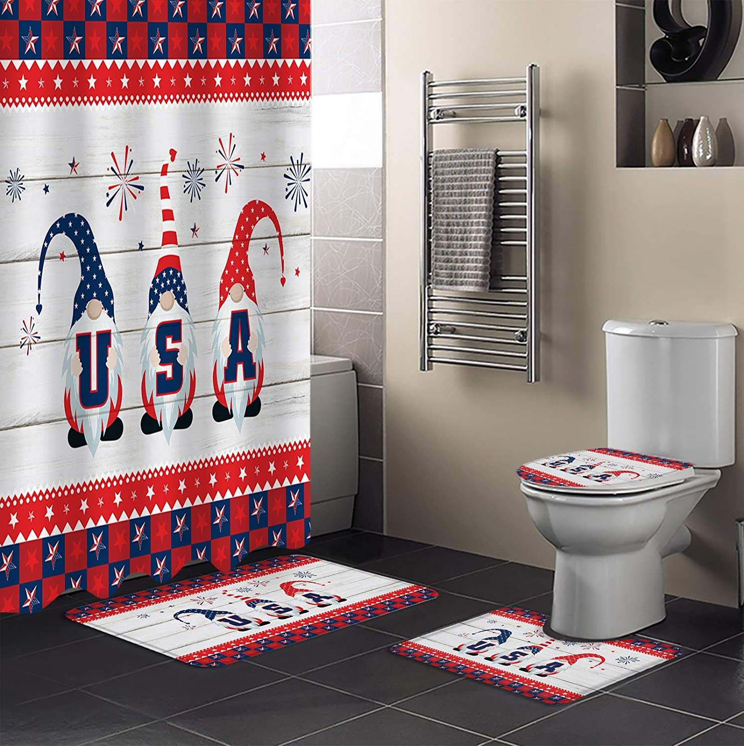 4 Spring new work one after another Piece Max 42% OFF Shower Curtain Sets Large Buffalo Bathmats 36