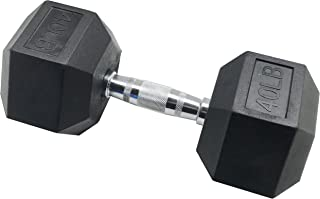BalanceFrom Rubber Encased Hex Dumbbell in Pairs, Singles or Set with Rack