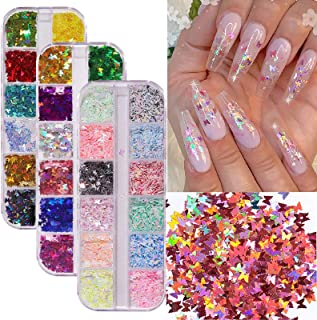 Nail Art Supplies Holographic Butterfly Nail Art Glitter 36 Colors/Set Sparkly Nail Sequins Glitters for Nail Art Decorati...
