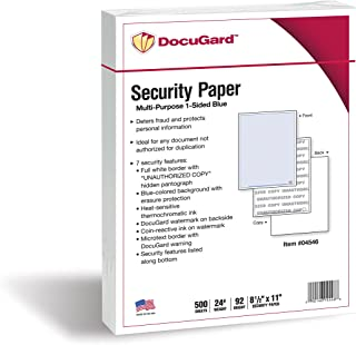 DocuGard Advanced Blue Multi-Purpose Security Paper, 7 Features, 8.5 x 11 Inches, 24 lb, 500 Sheets (04546)