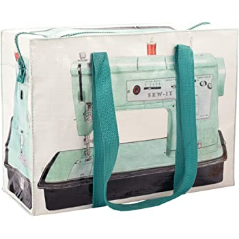 """Blue Q Shoulder Tote, Sew-It. The carry-everywhere bag that features a hefty zipper, exterior pocket, wrap-around straps, reinforced floor. Made from 95% recycled material, 11""""h x 15""""w x 6.25""""d."""