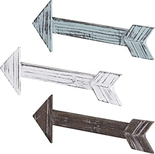 MyGift Decorative Wall-Mounted Rustic Multi-Colored Wood Arrows, Set of 3
