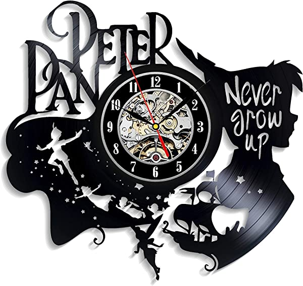 Levescale Peter Pan Vinyl Wall Clock Captain Hook Perfect Disney Gift For Girl Boy Or Kids Decoration For Playroom Kids Room Never Grow Up Fairy Wonderland Wendy Flying