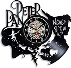 Levescale - Peter Pan Vinyl Wall Clock Captain Hook - Perfect Disney Gift for Girl, Boy Or Kids - Decoration for Playroom, Kids Room - Never Grow Up Fairy Wonderland Wendy Flying