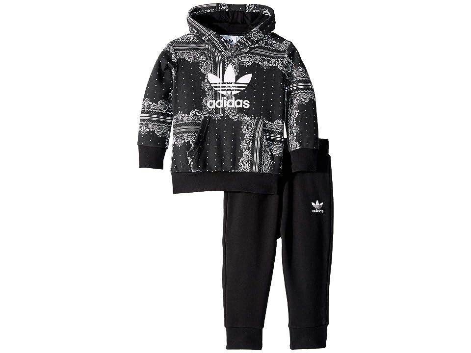 Image of adidas Originals Kids Bandana Hoodie Pants Set (Infant/Toddler) (Black/White) Kid's Active Sets