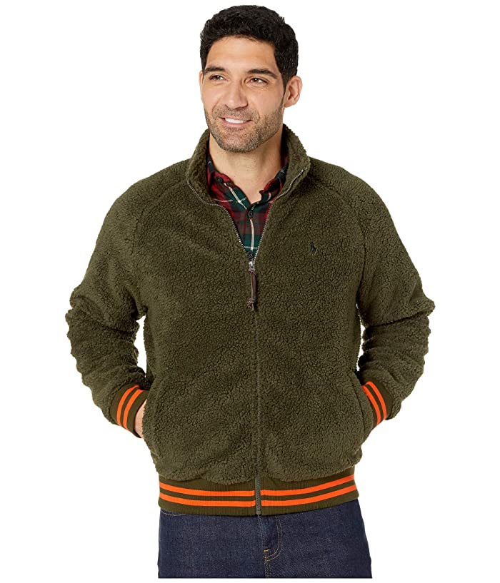 Men's Vintage Style Coats and Jackets Polo Ralph Lauren Vintage Sherpa Long Sleeve Knit Company Olive Mens Long Sleeve Pullover $148.00 AT vintagedancer.com