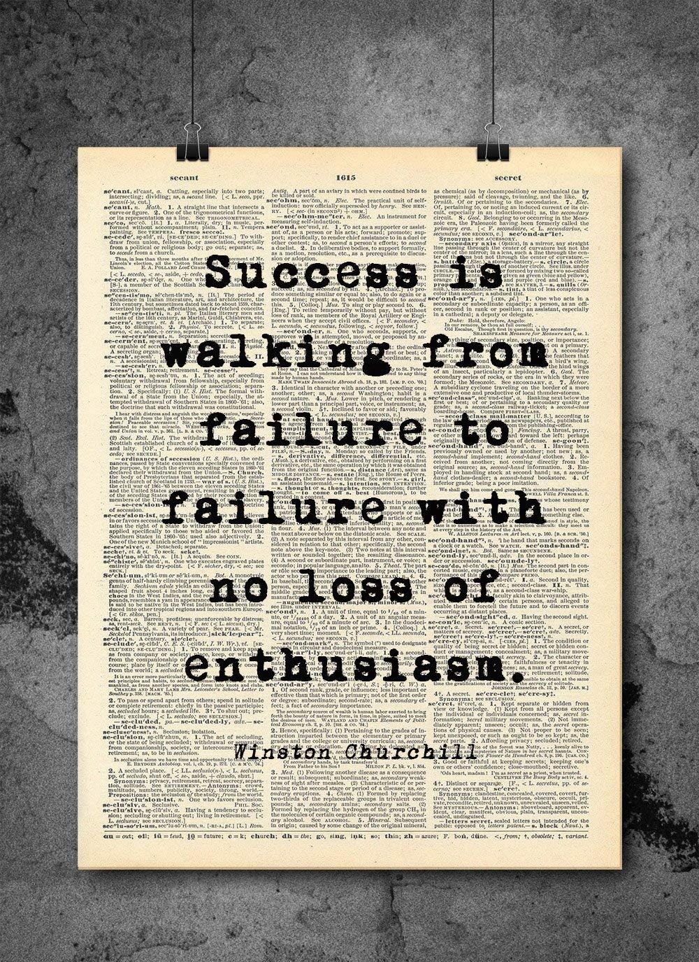 Winston Churchill Success Quote Dictionary - Print D El Paso Mall Vintage Dallas Mall Art