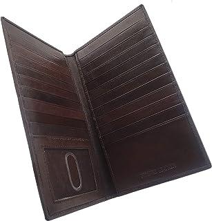 Mens Genuine Leather Long Credit Card Security Wallet Brown RFID