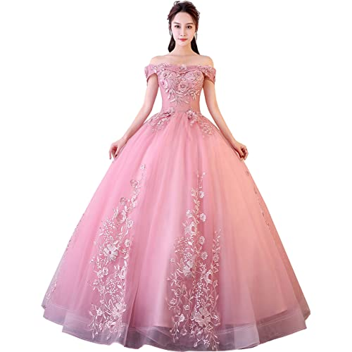 Okaybrial Womens Sweet 16 Quinceanera Dresses Blush Pink Off Shoulder Lace Long Prom Ball Gowns Plus