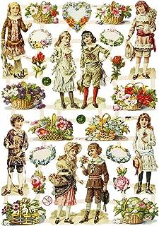 cromos vintage, hoja 16,5x23,5 cm, niños y flores, 3hoja
