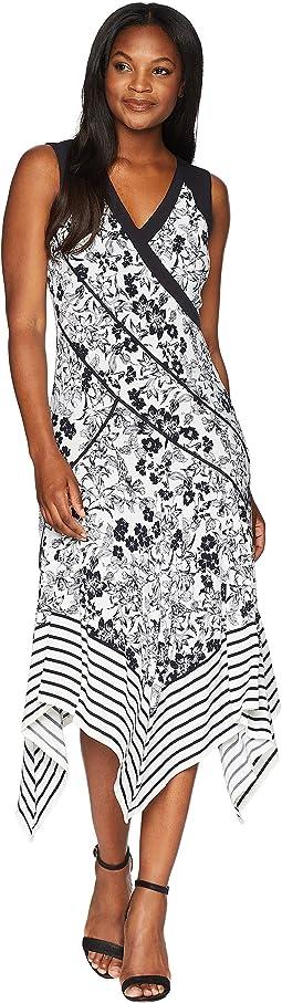 V-Neck Handkerchief Printed Dress