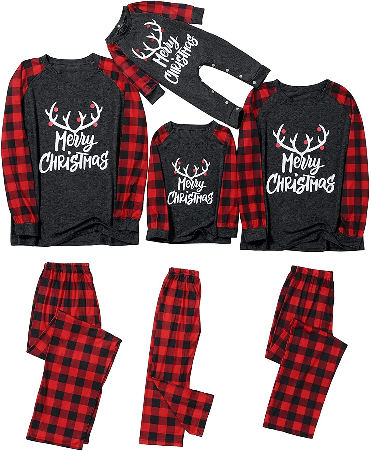 Family Christmas Pjs Matching Sets Merry Christmas Print Loungewear Outfit Casual Holiday Sleepwear