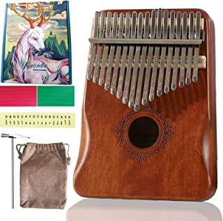 $20 » Upgrade Kalimba Thumb Piano 17 Keys with Study Instruction and Tune Hammer, Mahogany Solid Wood Mbira Finger Piano Musical...