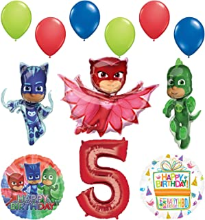 Mayflower Products PJ Masks 5th Birthday Party Supplies Catboy, Owlette and Gekko Balloon Decorations