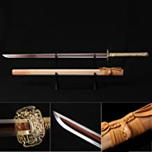 Ninja Sword, Fully Handmade Japanese Samurai Sword 1060 High Carbon Steel Double Edge Sharpened with Center Concave Fluted Shape