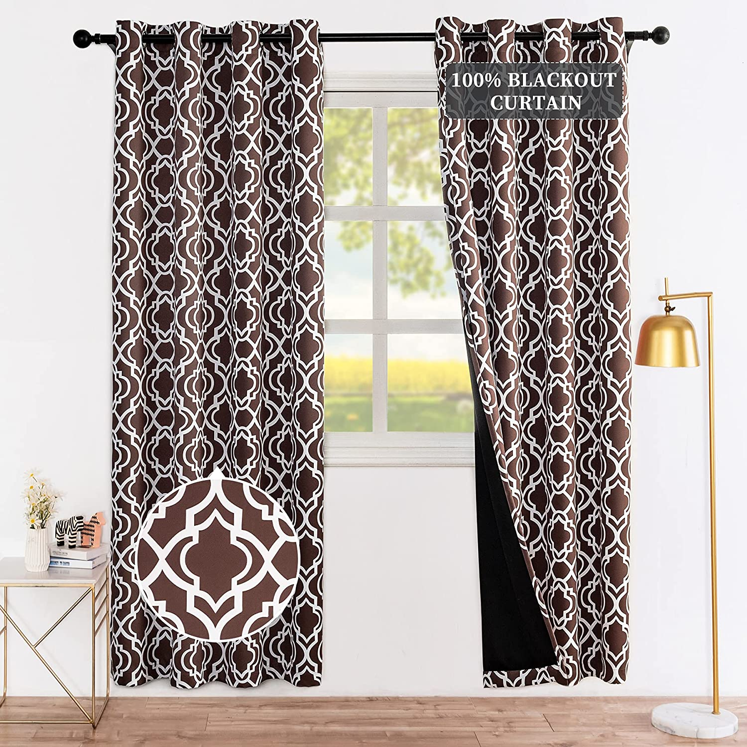 Drewin Blackout Curtains for Bedroom 67% OFF of fixed price Length Curt Inches 63 Brown Max 86% OFF