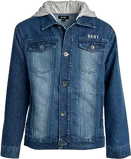 DKNY Boys' Denim Jean Jacket with French Terry Hood