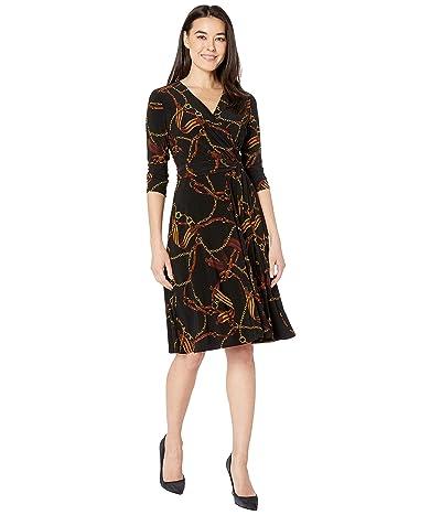 LAUREN Ralph Lauren Petite Equestrian-Print Jersey Dress (Black/Gold/Multi) Women